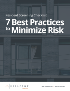 On-Site Realpage Resident Screening Checklist.